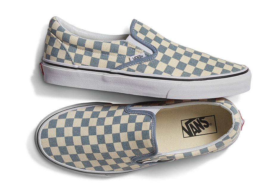 vans checkerboard slip on light
