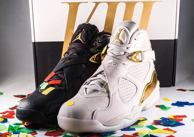 """57e73ca65b4c A Detailed Look At The Air Jordan 8 """"Cigar   Champagne"""" Collection"""