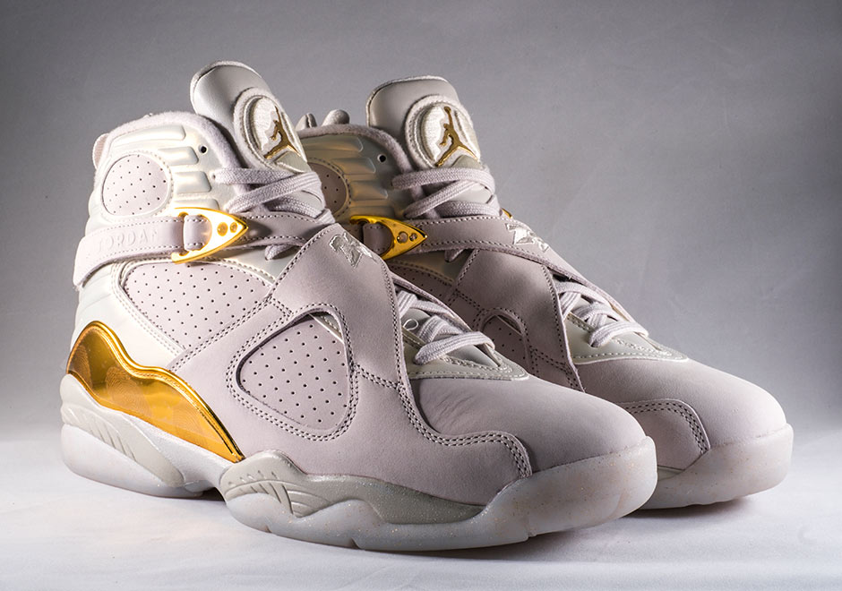 "Air Jordan 8 ""Cigar   Champagne"". Color  Light Bone Metallic Gold-White 2505375b6"
