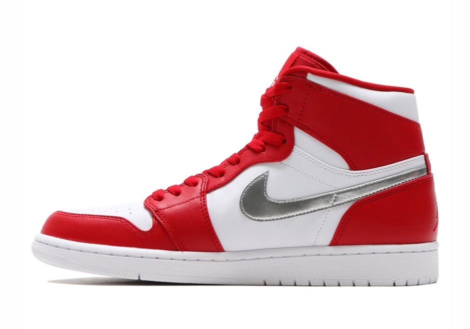 "sports shoes afefe a9543 Air Jordan 1 High ""Silver Medal"". Color  Gym Red Metallic Silver-White  Style Code  332550-602"