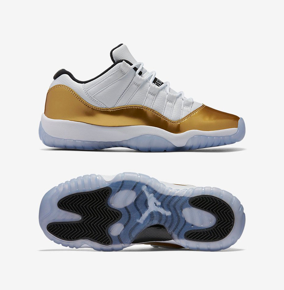 "cbff9a046fce50 Air Jordan 11 Low ""Closing Ceremony"". Color  White Metallic Gold Coin-Black"