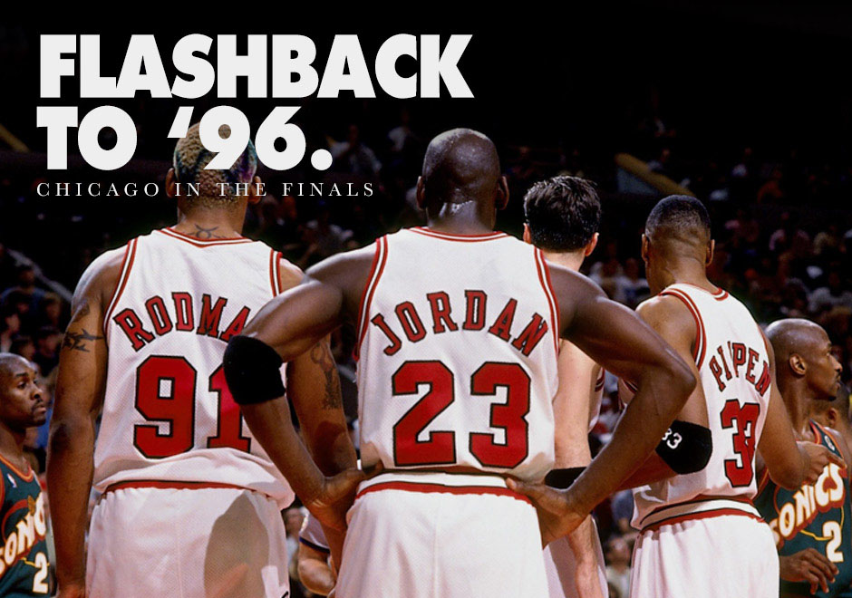 57ece91a8853 Flashback to  96  NBA Finals Sneakers of the Chicago Bulls Big Three -  SneakerNews.com