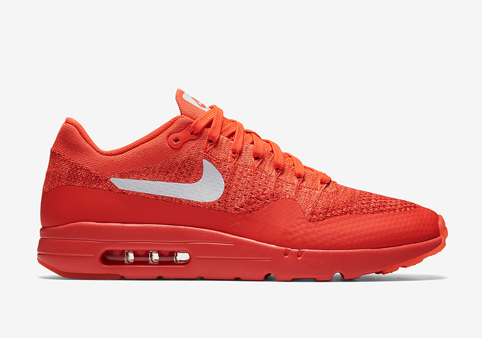 Nike Air Max 1 Ultra Flyknit. Color  Bright Crimson University Red-White  Style Code  843384-601. Release Date  July 28 3803aa99e