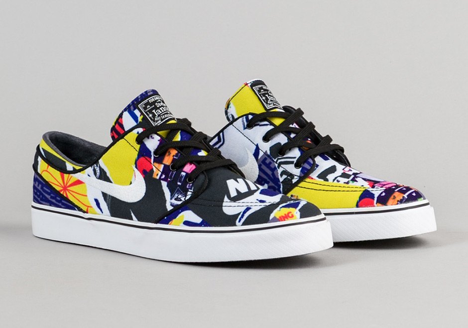 104eb7bf66 A Wild Mash-up Of Graphics Appear On The Nike SB Stefan Janoski