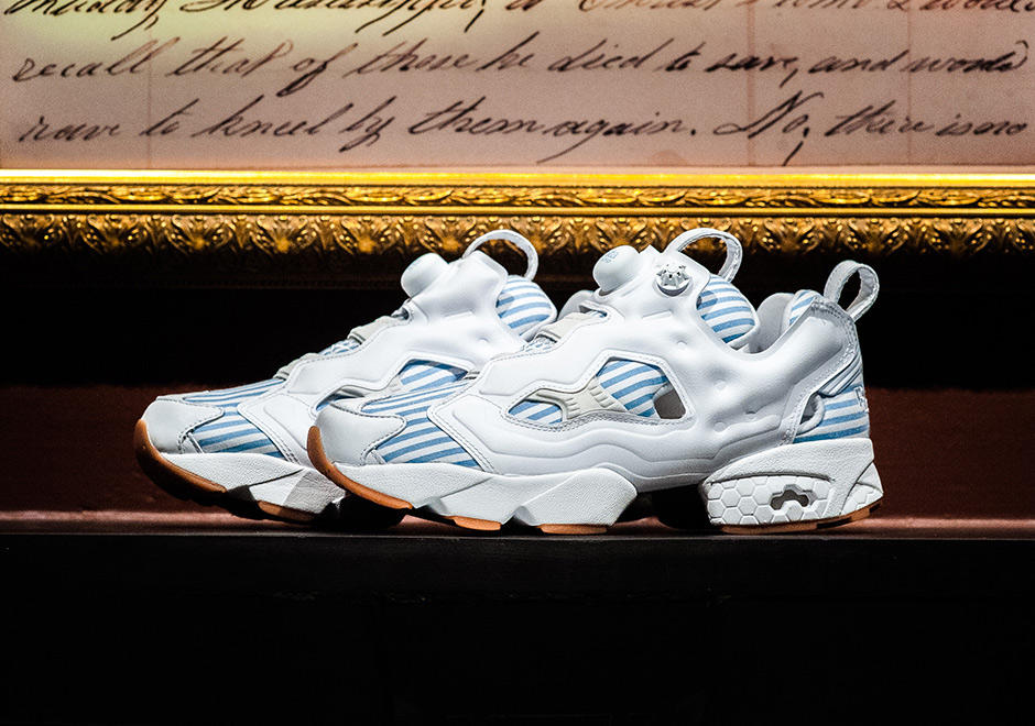 305a0d7e3fa Sneaker Politics combines the still-futuristic look of the Reebok Instapump  Fury with an old-timey aesthetic for their next collaboration with Reebok  ...