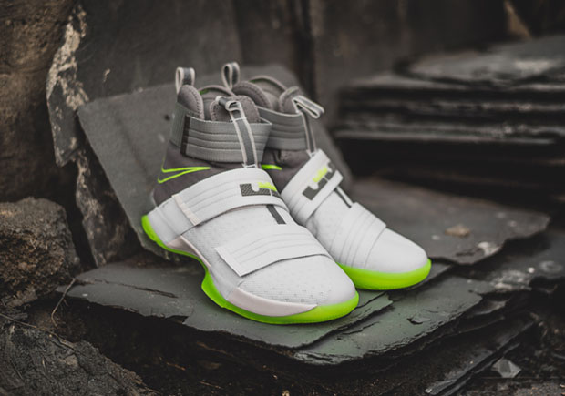"low priced 7b2e2 fb36d ... Nike LeBron Soldier 10 ""Dunkman"". Color WhiteCool Grey-Electric Green  Style Code ..."