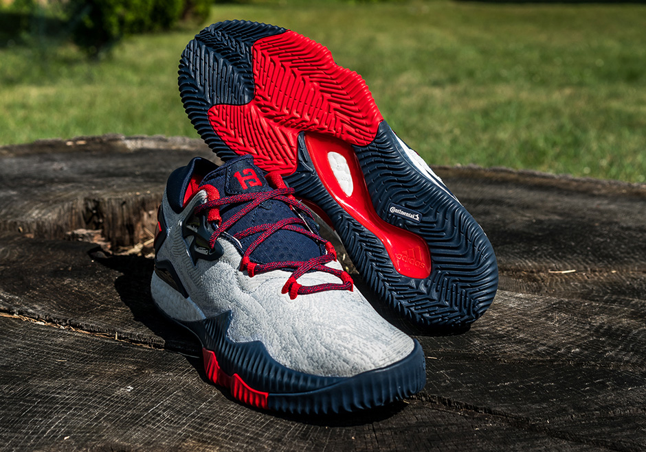 """33c1f4510f2 adidas Crazylight Boost 2016 Low """"James Harden USA"""" PE. Color   White Obsidian-Solar Red Style Code  B49755 Release Date  July 16"""