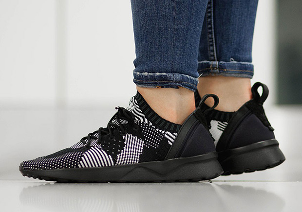 adidas originals black and white primeknit zx flux adv trainers