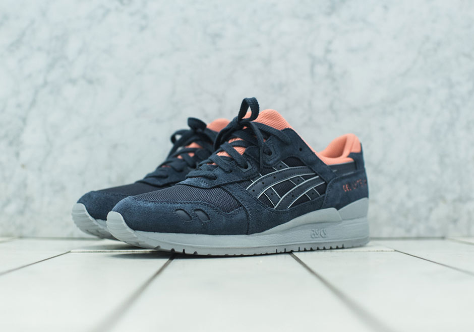 asics gel lyte iii navy/coral // kith exclusive