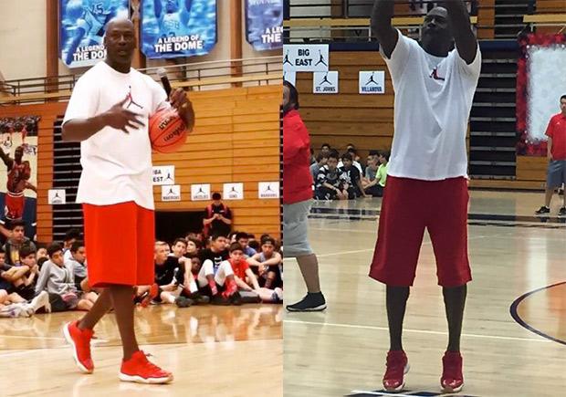 b44453e7cd6 Michael Jordan Wears Another Unreleased Air Jordan 11 Low At MJ Flight  School