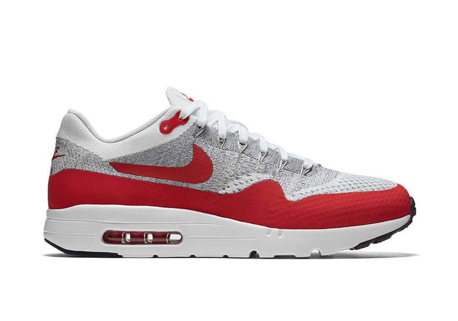 new product 077fc d3936 Nike Air Max 1 Ultra Flyknit. Color  White University Red-Pure Platinum-Cool  Grey-Wolf Grey-Black Style Code  843384-101. Release Date  7 28 2016