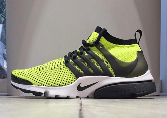 The Nike Presto Flyknit Releases In Classic Black And Volt