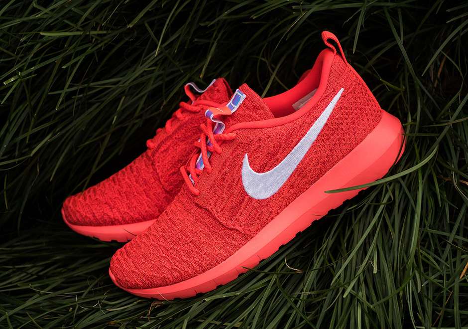"""This Nike Roshe Run Flyknit """"Bright Crimson"""" Features Iridescent Touches"""
