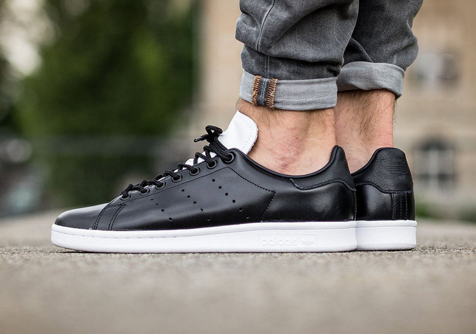 adidas Stan Smiths Get Dressed Up In Black and White Leather