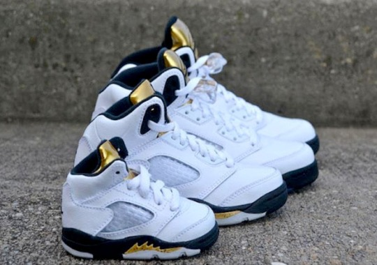 """The Air Jordan 5 """"Gold"""" Is Releasing For The Whole Family"""