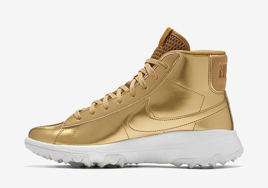 Nike WMNS Blazer Golf Shoe. Color: Metallic Gold/Summit White/Metallic Gold  Style Code: 818730-700. Price: $150