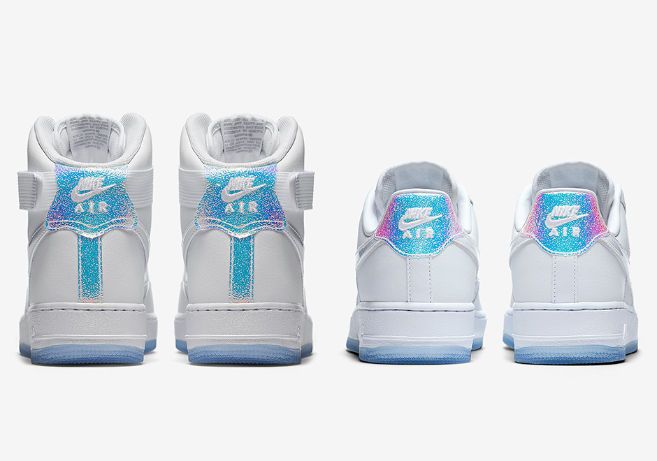shoes, nike, nike air force 1, iridescent, blue tint, wmns