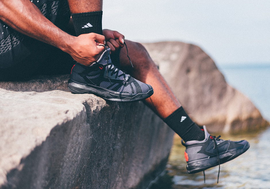 """cheap for discount ff44a edd8f adidas D Lillard 2 """"Shark Black"""". Color  Core Black Dark Grey-Solar Red  Release Date  September 17, 2016. Price   105. show comments"""