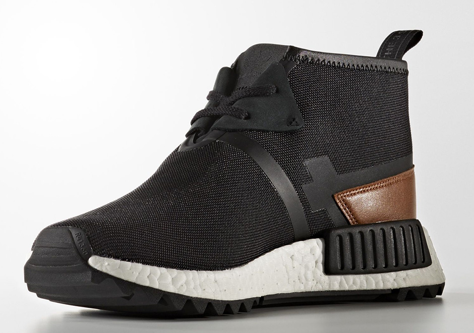adidas NMD R1 Olive Wool Heel with Black Boost Sole