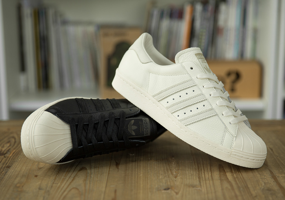 Exclusive White Adidas Superstar Black Leather 80s Size vHw7xSaq