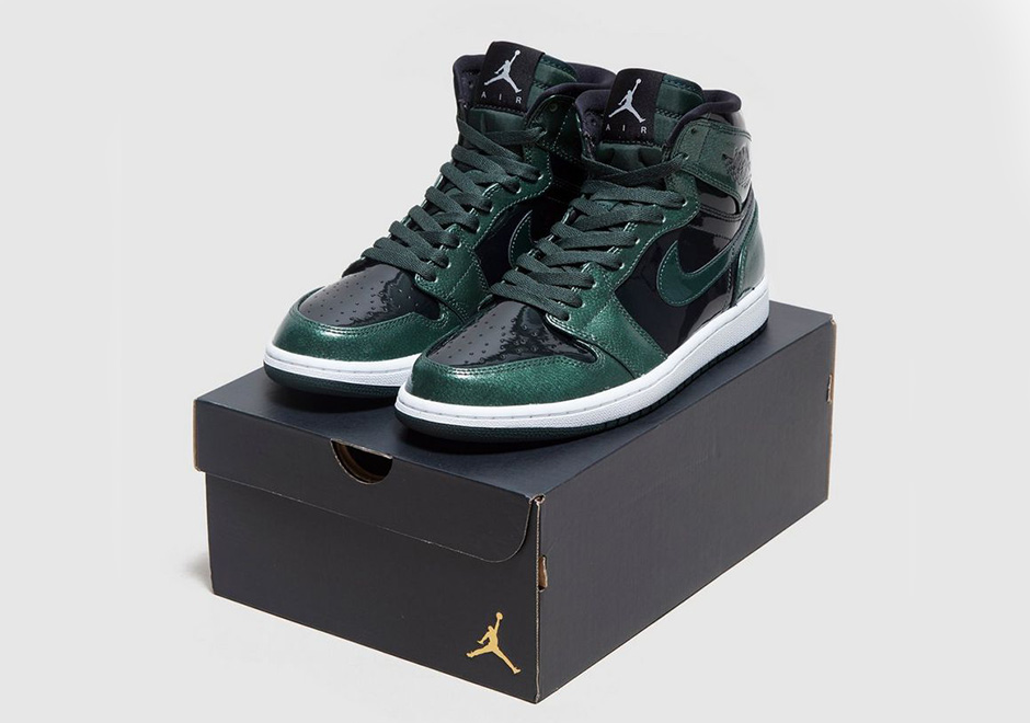 4454b43cfed0 Air Jordan 1 High Grove Green Patent Leather
