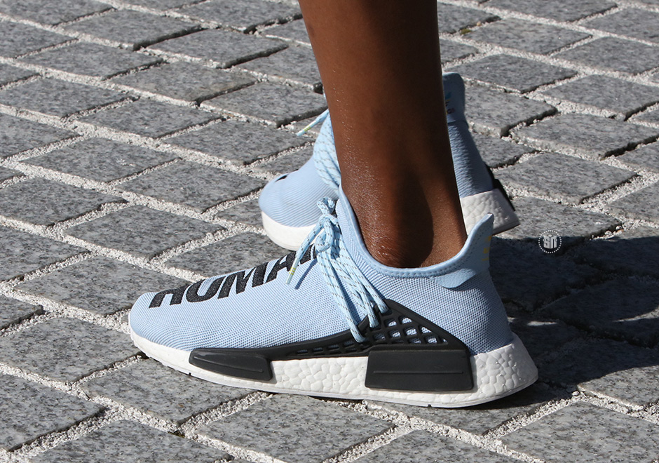 Pharrell Wears Light Blue Adidas Nmd Human Race