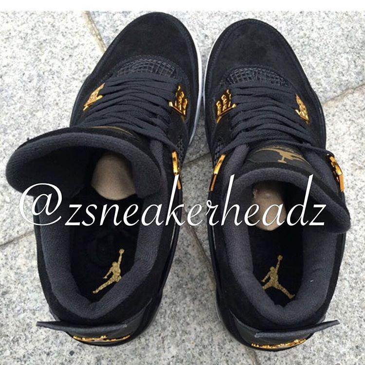 "12976362148 Air Jordan 4 ""Royalty"". Color: Black/Metallic Gold-White Style Code: 308497- 032"