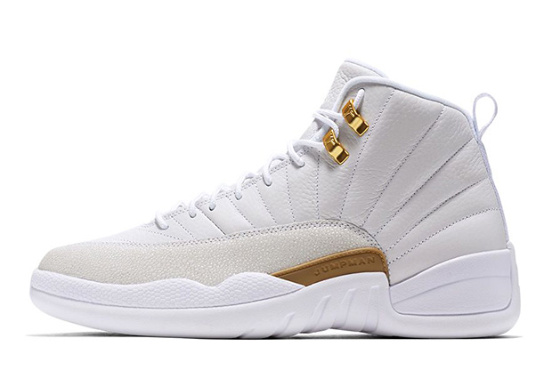 """318fb113f16c Air Jordan 12 """"OVO"""". Color  White Metallic Gold-White Style Code   873864-102. Release Date  October 29th"""