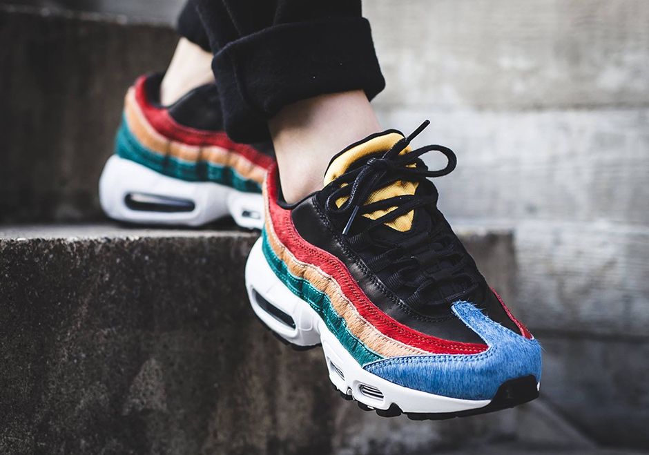 nike air max 95 leather and calf hair sneakers