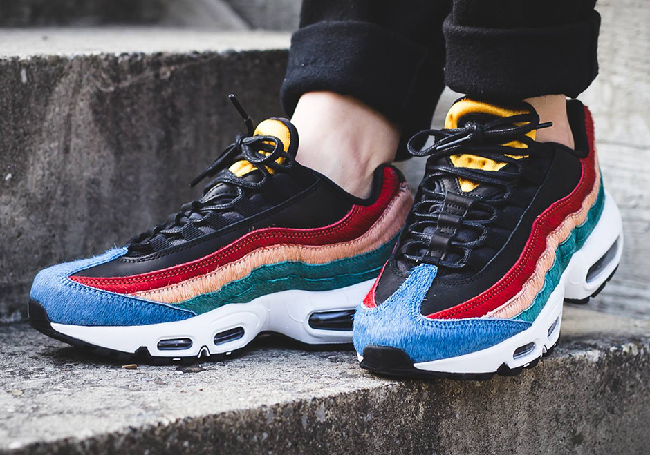 Air Max 95 leather and calf hair sneakers