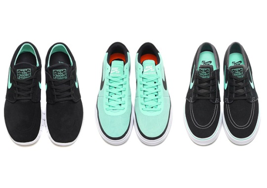 "Nike Details Three Skate Shoes In ""Green Glow"""