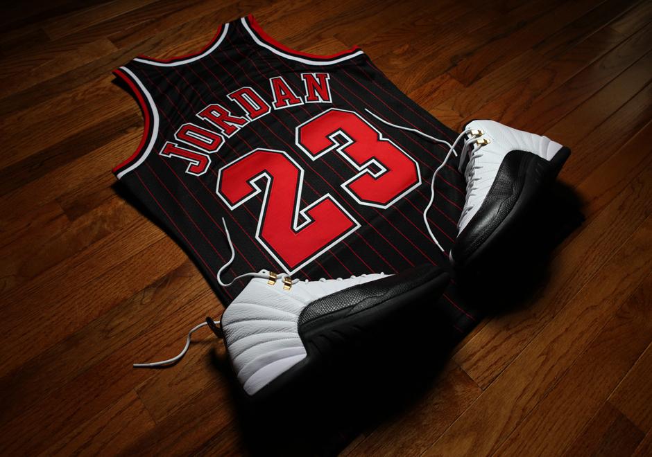 low priced 816f4 15fb1 Michael Jordan Bulls Jersey Black Pinstripe Buy ...