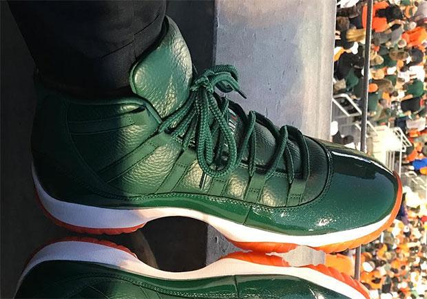 "separation shoes 68fd5 0d918 Andre Johnson Breaks Out Air Jordan 11 ""Miami Hurricanes"" PE"