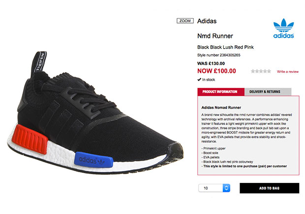 Adidas NMD R1 OG Primeknit Core Black Lush Red DEADSTOCK