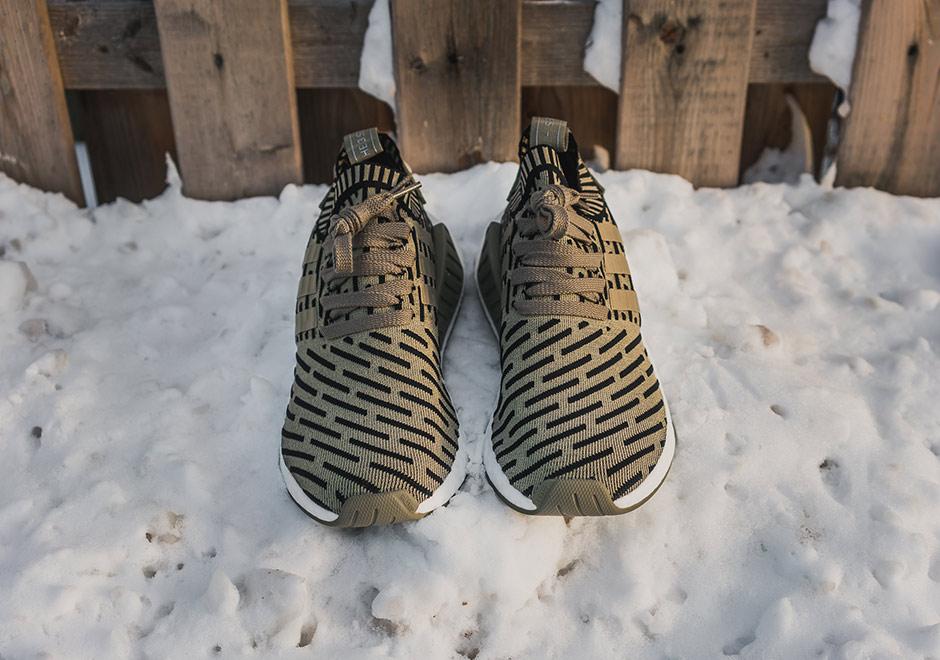 Adidas Mens Nmd_r2 Primeknit Olivengrønt Stoff 4lMyjIh24r
