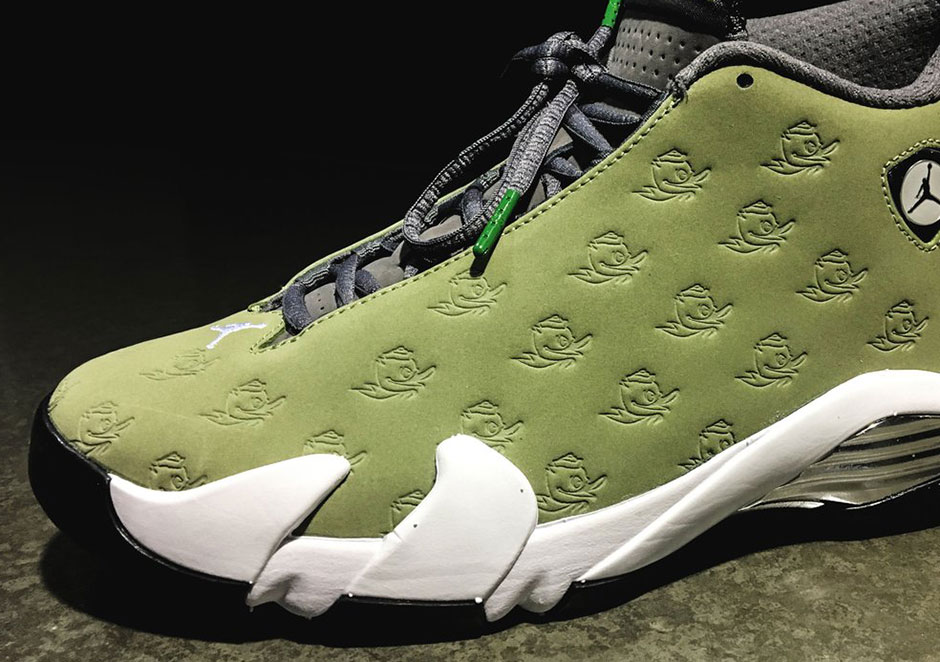 37bd7e03342168 Following up the highly coveted Air Jordan 14 PE for the Oregon Ducks in  grey from last season
