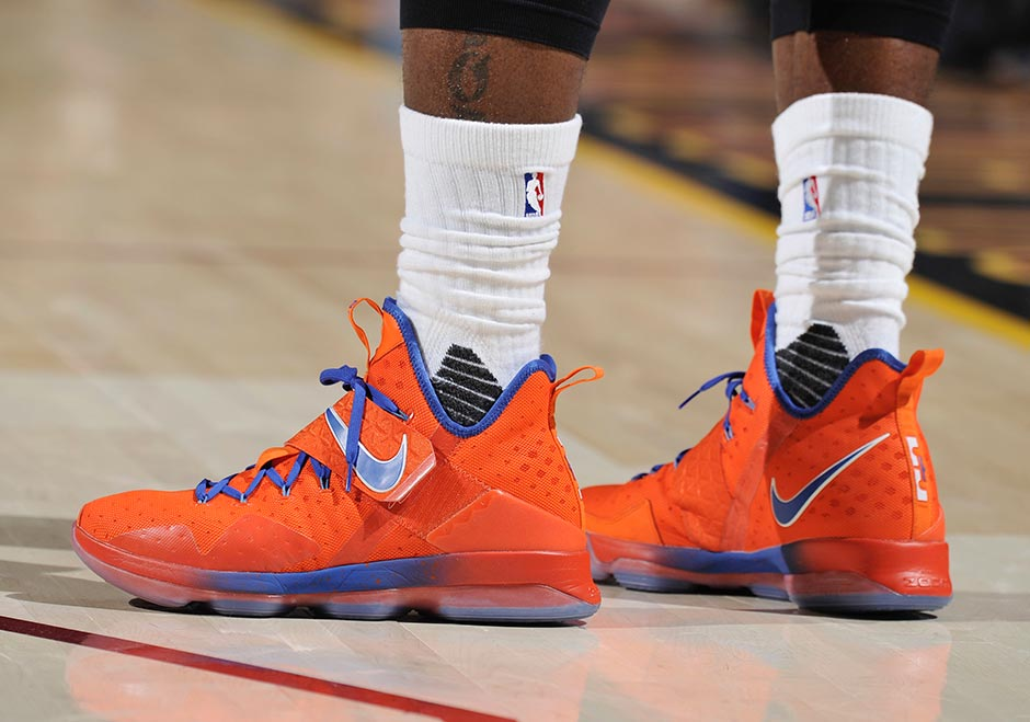 Nike LeBron 14 Orange PE Blue Hardwood Classics PE Orange 4d0322