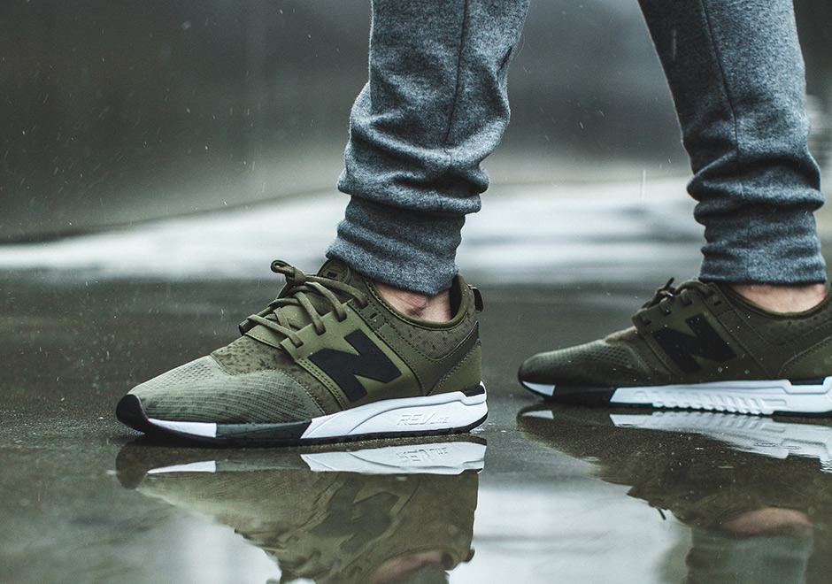 new balance 247 olive on feet