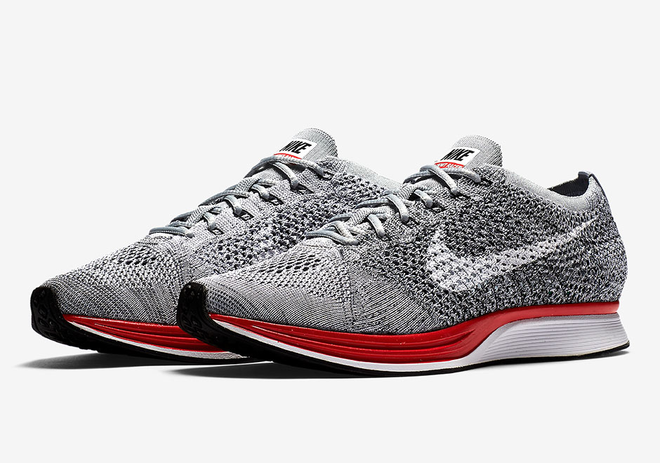2ef655d40a7b Red Midsoles Appear On The Nike Flyknit Racer
