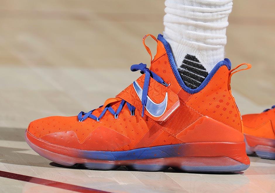 Nike LeBron 14 Orange Blue Hardwood Classics PE ...