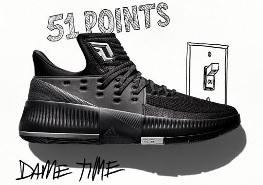 "6876a964664 adidas Honors Dame Lillard s Incredible Accomplishments With Lillard 3  ""Lights Out"""