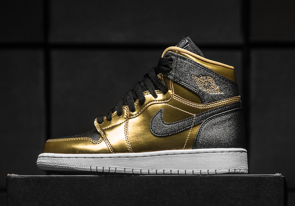 "Air Jordan 1 GS ""BHM"" Release Date: February 11, 2017 $140. Color: Metallic  Gold/Black-White Style Code: 909805-700. Buy on Nike.com. Buy on Stadium  Goods"