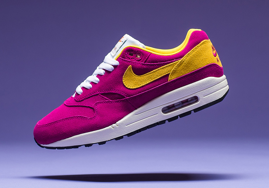 more photos 313a5 362e9 Nike Air Max 1. Colors  Dynamic Berry Black Sail Vivid Sulfur Style   875844-500. Available at Nikestore