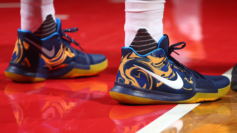 new style 3f5c5 d817f Nike Kyrie 3 Blue Yellow PE Vs Wizards | SneakerNews.com
