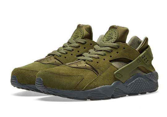 The Nike Air Huarache Releases In Legion Green Suede
