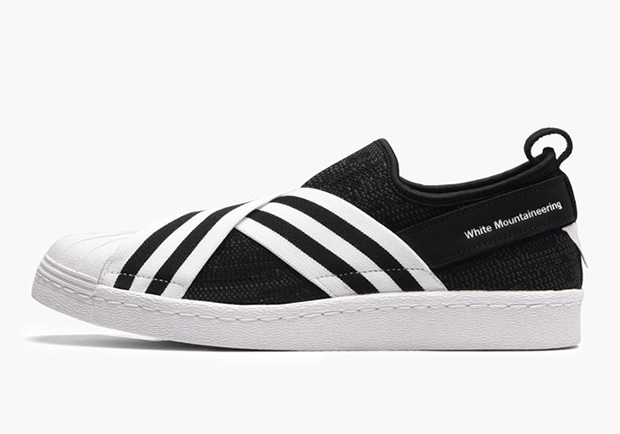 White Mountaineering x adidas Superstar Slip-On Release Date: February  23rd, 2017 $200. Color: Core Black/White-White Style Code: BY2880