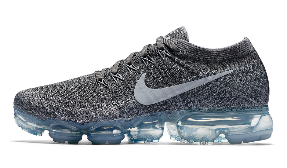 Nike WMNS Vapormax Release Date: April 27th, 2017 $190. Color: Dark  Grey/Black-Wolf Grey-Pure Platinum