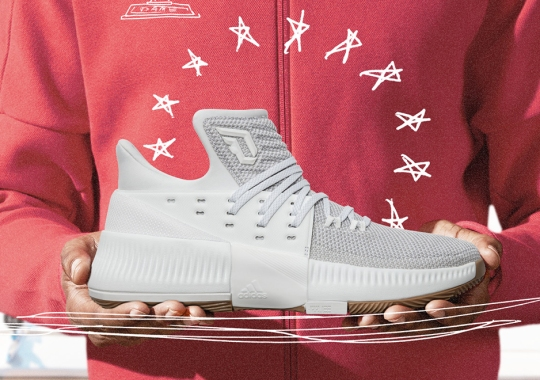 "more photos b53fd cb86e adidas Honors Damian Lillard s New Song ""Legacy"" With All White Dame 3  Colorway"