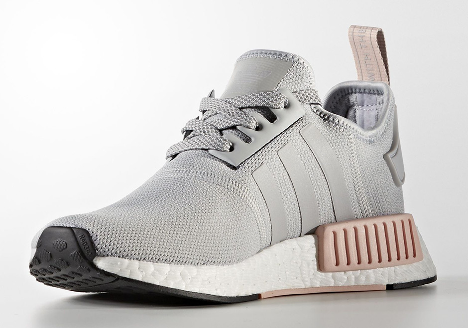 adidas womens nmd r1 grey and pink