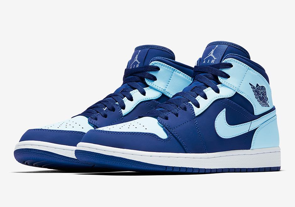 air jordan 1 mid blu e bianche
